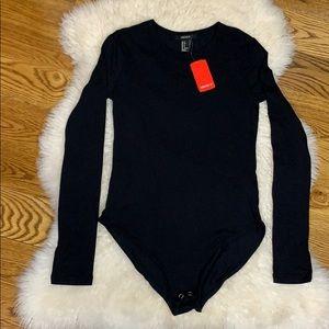 Forever 21 Plain Black Bodysuit Size Small NWT